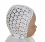 "<img src=""http://site.grammies-attic.com/images/blue-sold-1.gif""> NEW White Crocheted Baby Bonnet with Lace Ties"