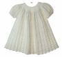 "<img src=""http://site.grammies-attic.com/images/blue-sold-1.gif""> NEW Winter White Hand Crocheted Cotton Baby Dress"