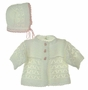 NEW White Hand Crocheted Sweater and Hat Set with Pink Trim and Teddy Bear Buttons