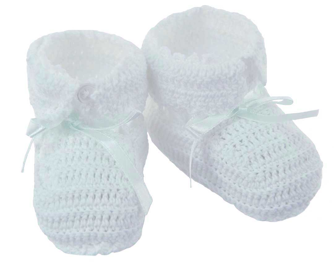 white crocheted baby booties,gender neutral baby booties ...