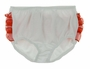 NEW White Knit Diaper Cover with Sheer Red Ruffles and White Satin Bow
