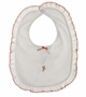 NEW Baby Threads White Pima Cotton Knit Bib with Candy Cane Embroidery