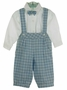 "<img src=""http://site.grammies-attic.com/images/blue-sold-1.gif""> NEW Will'Beth Blue and White Plaid Cotton Knickers Set with Bowtie"
