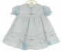 NEW Will'Beth Blue Dress with White Pintucked Overlay, Pink Rosebuds, and Tiny Seed Pearls