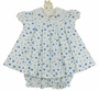 NEW Will'Beth Blue Flower Print Cotton Dress with White Fagoted Collar