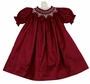 NEW Will'Beth Cranberry Silk Bishop Smocked Dress with Seed Pearls