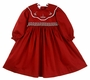 NEW Will'Beth Dark Red Smocked Dress with Holiday Embroidered Portrait Collar