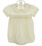 "<img src=""http://site.grammies-attic.com/images/blue-sold-1.gif""> NEW Will'Beth Ivory Smocked Bubble with Lace Trim"