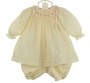 "<img src=""http://site.grammies-attic.com/images/blue-sold-1.gif""> NEW Will'Beth Ivory Voile Bishop Smocked Dress with Matching Ivory Pantaloons and Long Sleeved Slip"