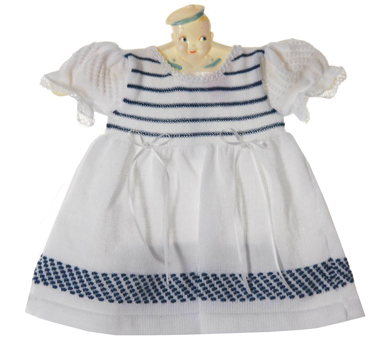 Will Beth Navy And White Knit Dress Set Baby Girls Navy