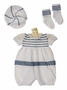 NEW Will'Beth Navy and White Knit Romper Set with Matching Hat and Socks