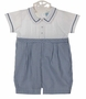 NEW Will'Beth Navy Checked Cotton Romper with Pintucks and Fagoting