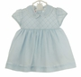 NEW Will'Beth Pale Blue Voile Dress with Tiny Tucks and Rosebud Embroidered Collar