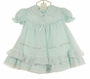 "<img src=""http://site.grammies-attic.com/images/blue-sold-1.gif""> NEW Will'Beth Pale Green Pintucked Dress with White Voile Overlay, Cluny Lace Trim, Pink Embroidered Rosebuds, and Tiny Seed Pearls"