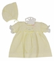 NEW Will'Beth Pale Yellow Knit Dress with Bonnet and Diaper Cver