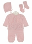 "<img src=""http://site.grammies-attic.com/images/blue-sold-1.gif"">  NEW Will'Beth Pink Knit Sweater Set with Matching Hat and Socks"