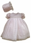 NEW Will'Beth Pink Smocked Baby Dress with White Voile Overlay and Matching Bonnet