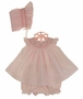 NEW Will'Beth Pink Smocked Preemie Dress with Angel Sleeves and Matching Smocked Bonnet