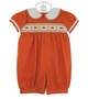 NEW Will'Beth Pumpkin Smocked Bubble with Embroidered Flowers