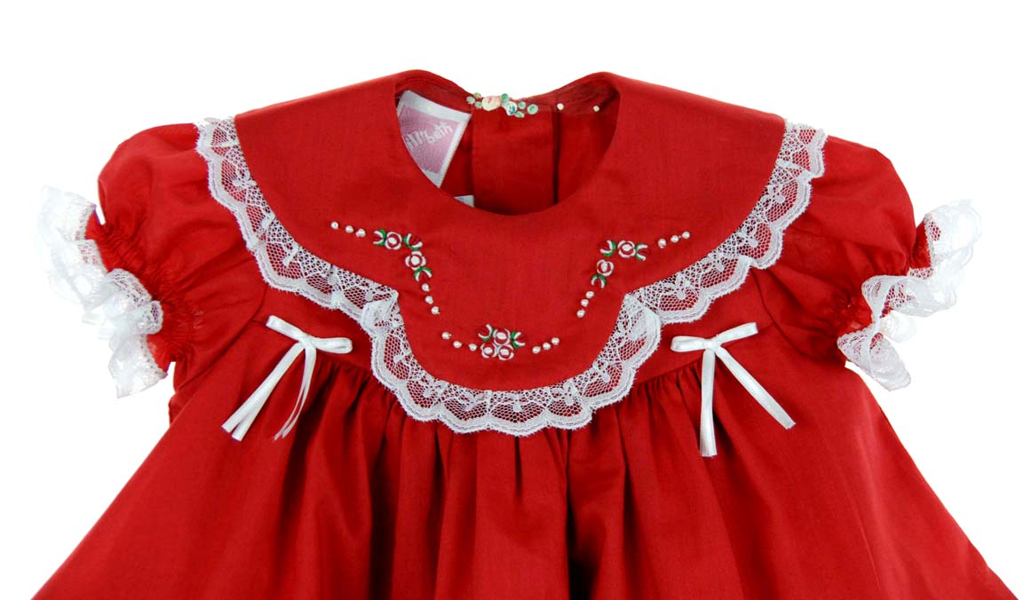 Will&39beth red Christmas dress with lace and embroideryred and ...
