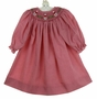 NEW Will'Beth Red Checked Bishop Smocked Dress with Santa Embroidery