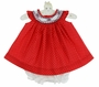 NEW Will'Beth Red Dotted Bishop Smocked Dress with Red and Navy Embroidery