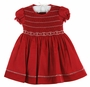 NEW Will'Beth Red Smocked Dress with White Embroidery