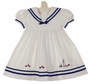 NEW Will'Beth White Cotton Pique Sailor Dress with Navy Trim and Embroidered Flowers