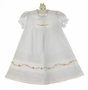 NEW Will'Beth White Pintucked Baby Dress with Lace and Pink Embroidered Organdy