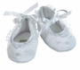 NEW Will'Beth White Shoes with Delicate Embroidery, Seed Pearls, and Organdy Ruffles