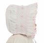 NEW Will'Beth White Smocked Baby Bonnet with Pink Embroidered Flowers