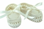 NEW Willbeth Vintage Style Ivory Cotton Knit Moccasin Booties with Woven Ribbon