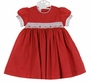 NEW Will'Beth Red Cotton Smocked Dress with Matching Pantaloons