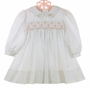 NEW Sarah Louise White Twill Smocked Dress with Pink Rosebuds and Pink Ribbon Insertion