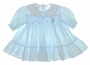 "<img src=""http://site.grammies-attic.com/images/blue-sold-1.gif""> Polly Flinders Blue Smocked Baby Dress with Embroidered Kite"