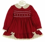 Polly Flinders Cranberry Smocked Dress with Ivory Lace Trim