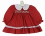 """<img src=""""http://site.grammies-attic.com/images/blue-sold-1.gif""""> Polly Flinders Dark Red Print Cotton Smocked Dress with Embroidered White Collar"""