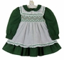 Polly Flinders Green Flower Print Dress with White Ruffled Smocked Pinafore