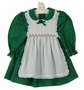 Polly Flinders Green Flower Print Pinafore Style Dress with White Smocking