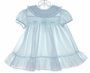 "<img src=""http://site.grammies-attic.com/images/blue-sold-1.gif""> Polly Flinders Pale Blue Smocked Dress with Ruffled Hem"