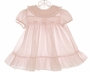 "<img src=""http://site.grammies-attic.com/images/blue-sold-1.gif""> Polly Flinders Pale Pink Smocked Dress with Ruffled Hem"