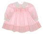Polly Flinders Pink Smocked Baby Dress with White Collar and Cuffs