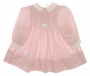 Polly Flinders Pink Smocked Baby Dress with White Collar and White Bow