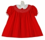 Polly Flinders Red Cotton Bishop Smocked Dress with White Lace Trimmed Collar