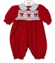 "<img src=""http://site.grammies-attic.com/images/blue-sold-1.gif"">  Polly Flinders Red Cotton Velvet Smocked Bubble with Embroidered Bows"