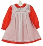"<img src=""http://site.grammies-attic.com/images/blue-sold-1.gif""> Polly Flinders Red Dotted Dress with White Lace Trimmed Pinafore"