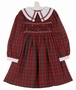 Polly Flinders Red Plaid Smocked Dress with Plaid Trimmed White Collar
