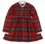 Vintage 1950s Polly Flinders Red Plaid Smocked Dress with White Eyelet Trim