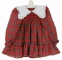 Polly Flinders Red Plaid Smocked Dress with White Ruffled Collar