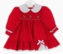 "<img src=""http://site.grammies-attic.com/images/blue-sold-1.gif""> Polly Flinders Red Smocked Dress with Eyelet Trim and Candy Cane Embroidery"